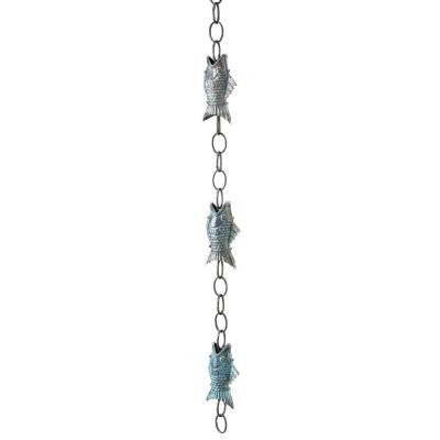 Blue Verde Fish Copper Rain Chain