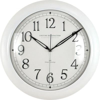 11 in. White Round Slim Wall Clock