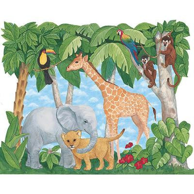 77 in. x 89 in. Baby Animals Jungle Mural