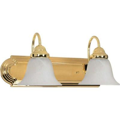 Sophrosyne 2-Light Polished Brass Bath Vanity Light with Alabaster Glass