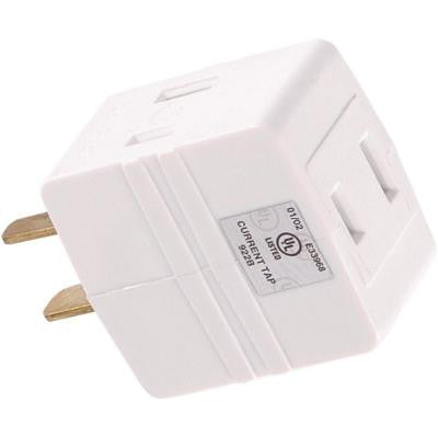 3-Outlet Polarized Adapter Plug - White