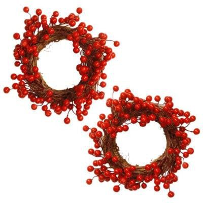 9 in. Berry Wreath (Set of 2)