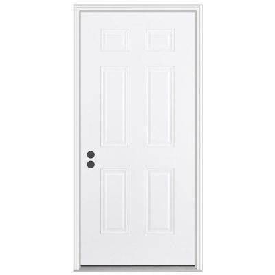 36 in. x 80 in. 6-Panel Primed White Fiberglass Prehung Front Door with Brickmould