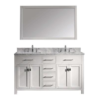 Caroline 60 in. W x 22 in. D x 35.2 in. H Vanity in White with Marble Vanity Top in White with Square Basin and Mirror