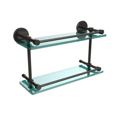 16 in. W x 16 in. L Tempered Double Glass Shelf with Gallery Rail in Oil Rubbed Bronze