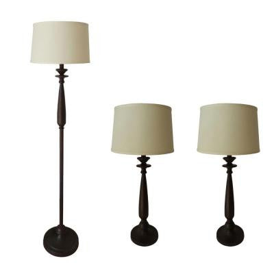 #1359 3-Piece Antique Brown Lamp Set
