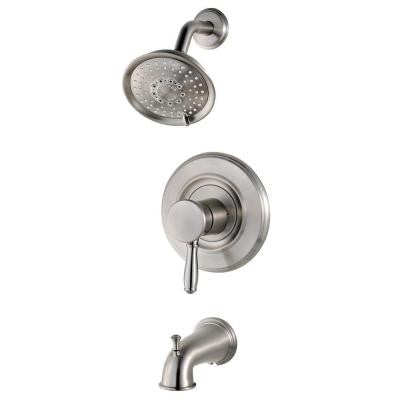 Universal Single-Handle Transitional Tub and Shower Faucet Trim Kit in Brushed Stainless Steel (Valve Not Included)