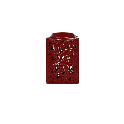 10 in. Red Ceramic Lantern