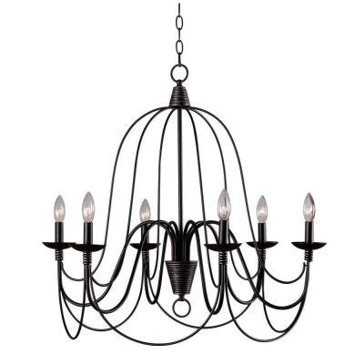 Pannier 6-Light Oil Rubbed Bronze with Silver Highlights Chandelier