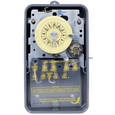 T1400 Series 40-Amp 24-Hour Mechanical Time Switch with Skipper and Outdoor Enclosure - Gray