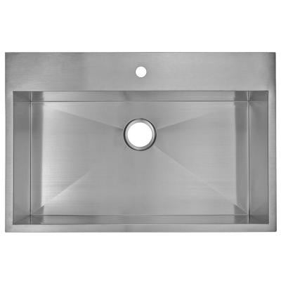 Top Mount Zero Radius Stainless Steel 33x22x10 1-Hole Single Bowl Kitchen Sink in Satin Finish