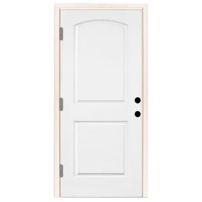 Premium 2-Panel Arch Primed White Steel Prehung Front Door with 36 in. Right-Hand Outswing and 6 in. Wall