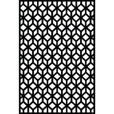 0.3 in. x 71 in. x 3.95 ft. Cubism Recycled Plastic Charcoal Decorative Screen
