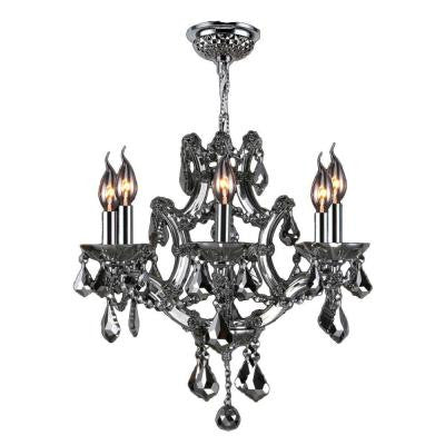 Lyre Collection 6-Light Chrome Crystal Chandelier
