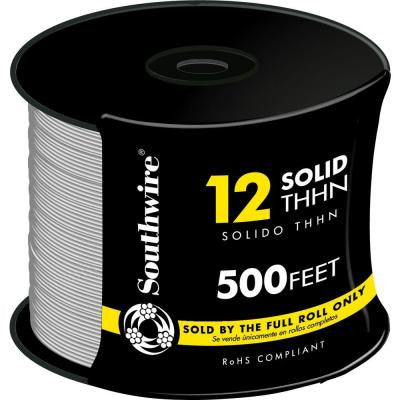 500 ft. 12/1 Solid THHN Wire - White