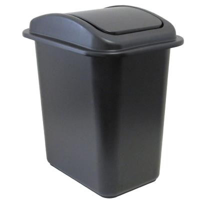 28 Qt. Black Wastebasket with Universal Lid