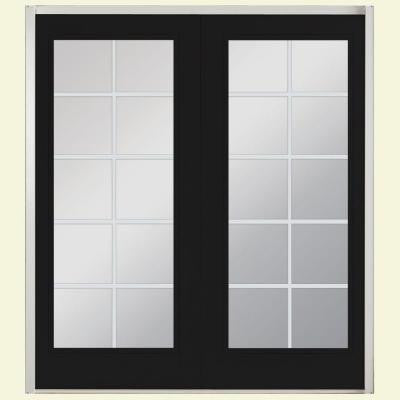 72 in. x 80 in. Jet Black Prehung Left-Hand Inswing 10 Lite Fiberglass Patio Door with No Brickmold in Vinyl Frame