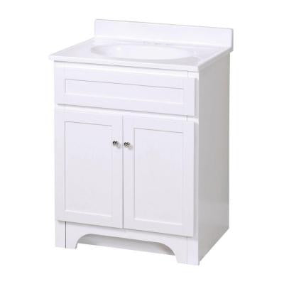 Columbia 25 in. W x 19 in. D Vanity in White with Cultured Marble Vanity Top in White