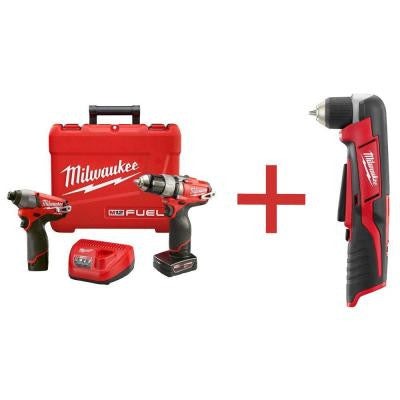 M12 FUEL 12-Volt Lithium-Ion Cordless 1/2 in. Drill/Impact Combo with M12 3/8 in. Right Angle Drill (Tool Only)