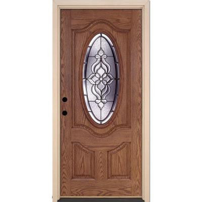 37.5 in. x 81.625 in. Lakewood Patina 3/4 Oval Lite Stained Medium Oak Fiberglass Prehung Front Door