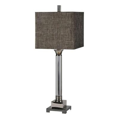 Luna 30 in. Chrome Incandescent Table Lamp