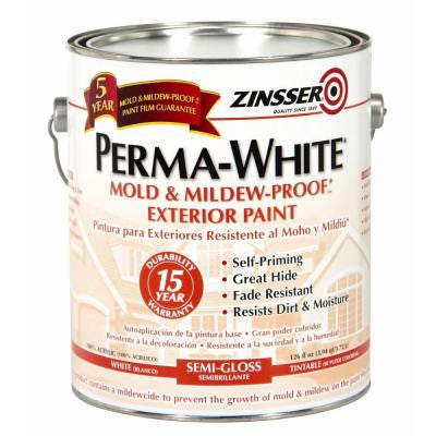 1-qt. Perma-White Mold and Mildew-Proof White Semi-Gloss Exterior Paint (Case of 6)