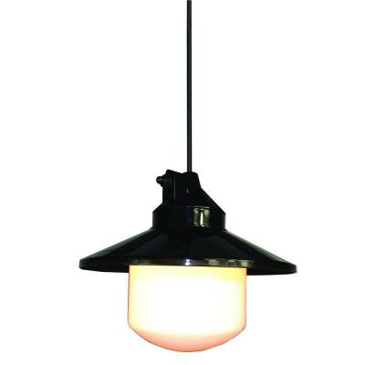 Outdoor Black Portable Pendant with Large Globe and Shade