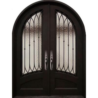 62 in. x 82 in. Concord Classic 3/4 Lite Painted Oil Rubbed Bronze Decorative Wrought Iron Prehung Front Door