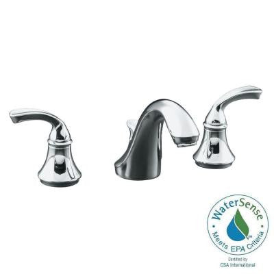 Forte 8 in. Widespread 2-Handle Low-Arc Bathroom Faucet in Polished Chrome with Plastic Drain