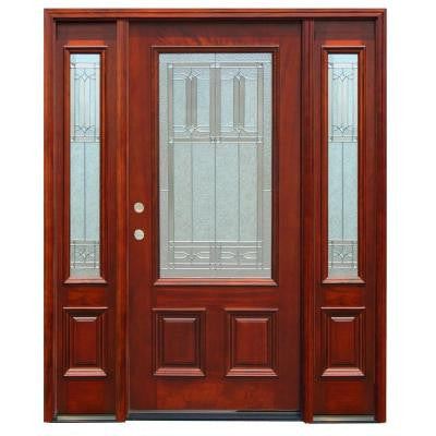 68in.x80in. Traditional 3/4 Lite Stained Mahogany Wood Prehung Front Door w/ 6 in. Wall Series and 12 in. Sidelites