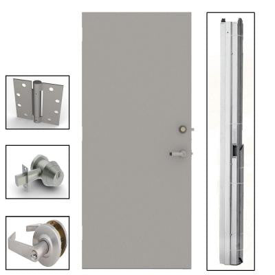 36 in. x 84 in. Gray Flush Steel Security Commercial Door with Hardware