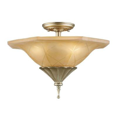 Chelsea 17 in. 3-Light Aged Silver Semi Flush Mount