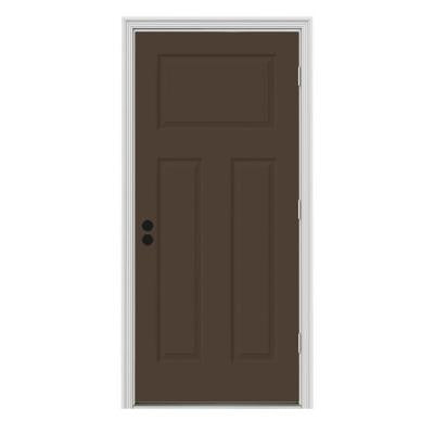 30 in. x 80 in. Craftsman 3-Panel Painted Premium Steel Prehung Front Door with Brickmould