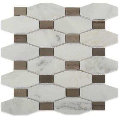 Diapson Oriental with Athens Gray Dot 10 in. x 10 in. x 10 mm Polished Marble Mosaic Tile