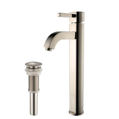 Ramus Single Hole 1-Handle High Arc Bathroom Faucet with Matching Pop Up Drain in Satin Nickel