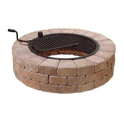 Grand Fire Pit 48 in. Concrete Fire Pit in Desert with Cooking Grate