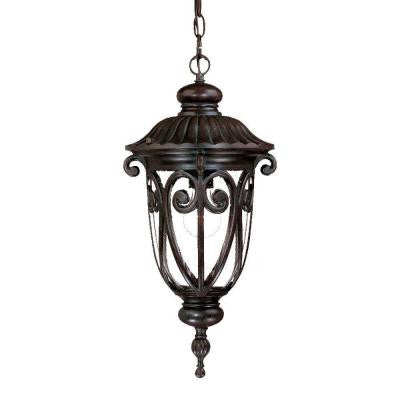 Naples Collection Hanging Lantern 1-Light Outdoor Marbleized Mahogany Light Fixture