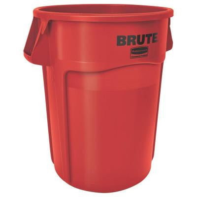BRUTE 32 Gal. Red Round Vented Trash Can