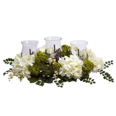 9.5 in. H White Snowball Hydrangea Triple Candelabrum