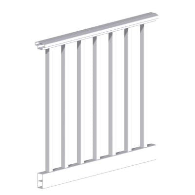 Original Rail 4 ft. x 36 in. Vinyl White Square Baluster H-Level Rail Kit