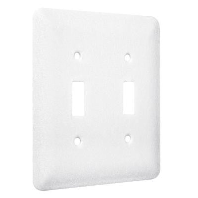 2-Gang 2-Toggle Princess Metal Wall Plate - White Textured