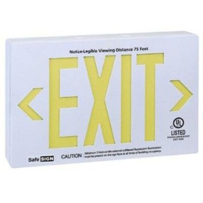 2-Light White Self Luminescent Exit Sign with Yellow Letters