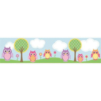 6 in. Owls In The Hood Light Blue Owl Border