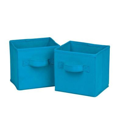 4.9-Qt. Mini Non-Woven Foldable Cube Bin in Aqua (6-Pack)