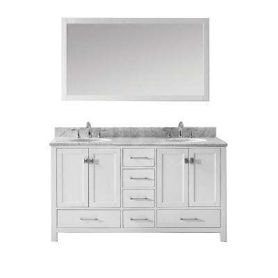 Caroline Avenue 60 in. Double Vanity in White with Marble Vanity Top in Italian Carrara and Mirror