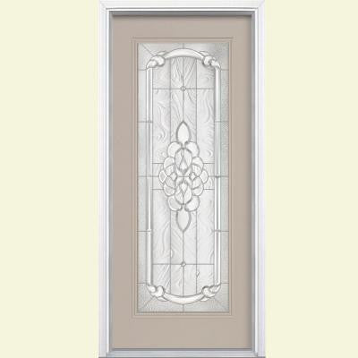 36 in. x 80 in. Oakville Full Lite Painted Smooth Fiberglass Prehung Front Door with Brickmold