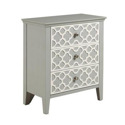 3-Drawer Dresser with White Trellis Design in Light Gray