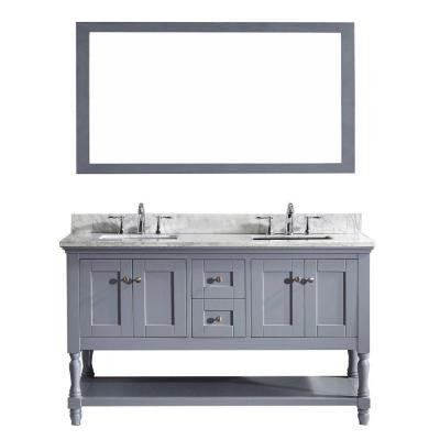 Julianna 60 in. Double Square Basins Vanity in Grey with Marble Vanity Top in White and Mirror