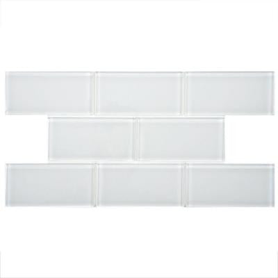 Tessera Subway Ice White 3 in. x 6 in. x 8 mm Glass Wall Tile (1 sq. ft. / pack)