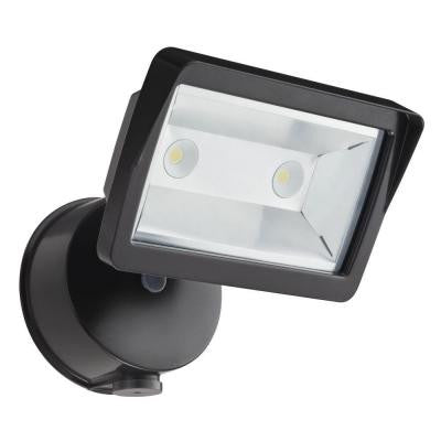 Dusk-to-Dawn Wall-Mount Outdoor Bronze LED Mini Single-Head Flood Light